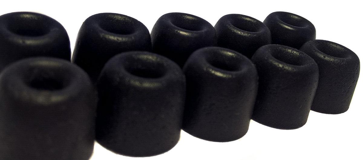 TCM Memory FOAM ♫ 5 pāri (10 gab) maināmās austiņu gumijas InEar mūzikas austiņām. Pielāgojas auss formai, slāpē apkārtējo troksni, uzlabo skaņu ♫ Melns