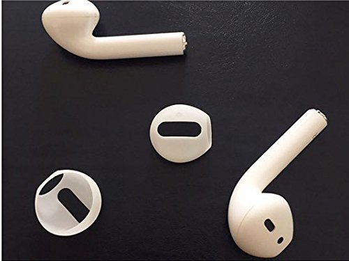 TCM Airpods ♫ 2 pāri (4 gab) maināmās austiņu gumijas iPhone 7, 8, X un Airpod mūzikas austiņām. Pielāgojas auss formai, slāpē apkārtējo troksni, uzlabo skaņu ♫ Balts