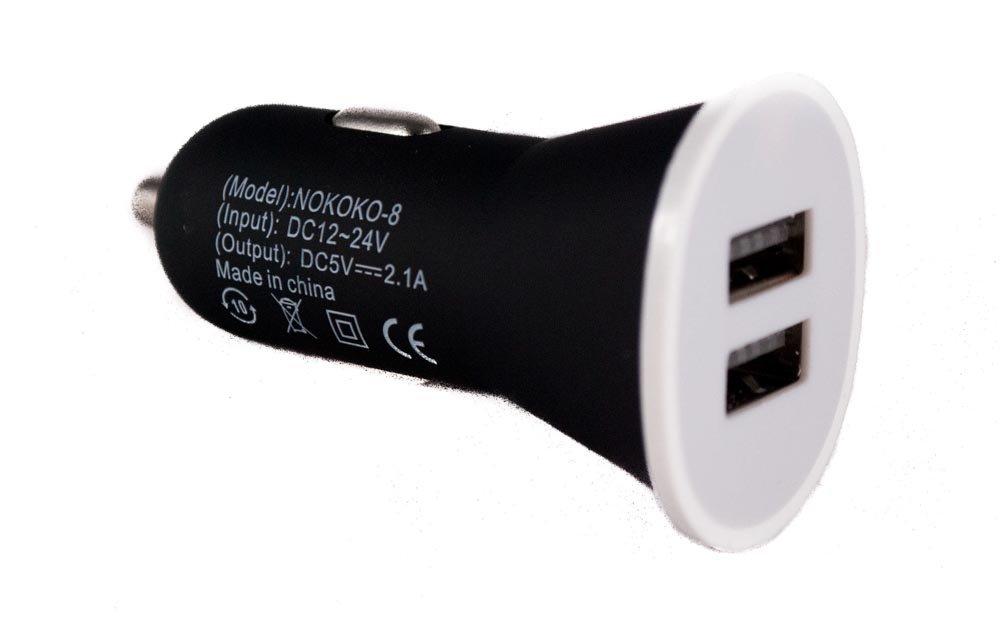 Portatīvs divu izeju USB lādētājs priekš automašīnas