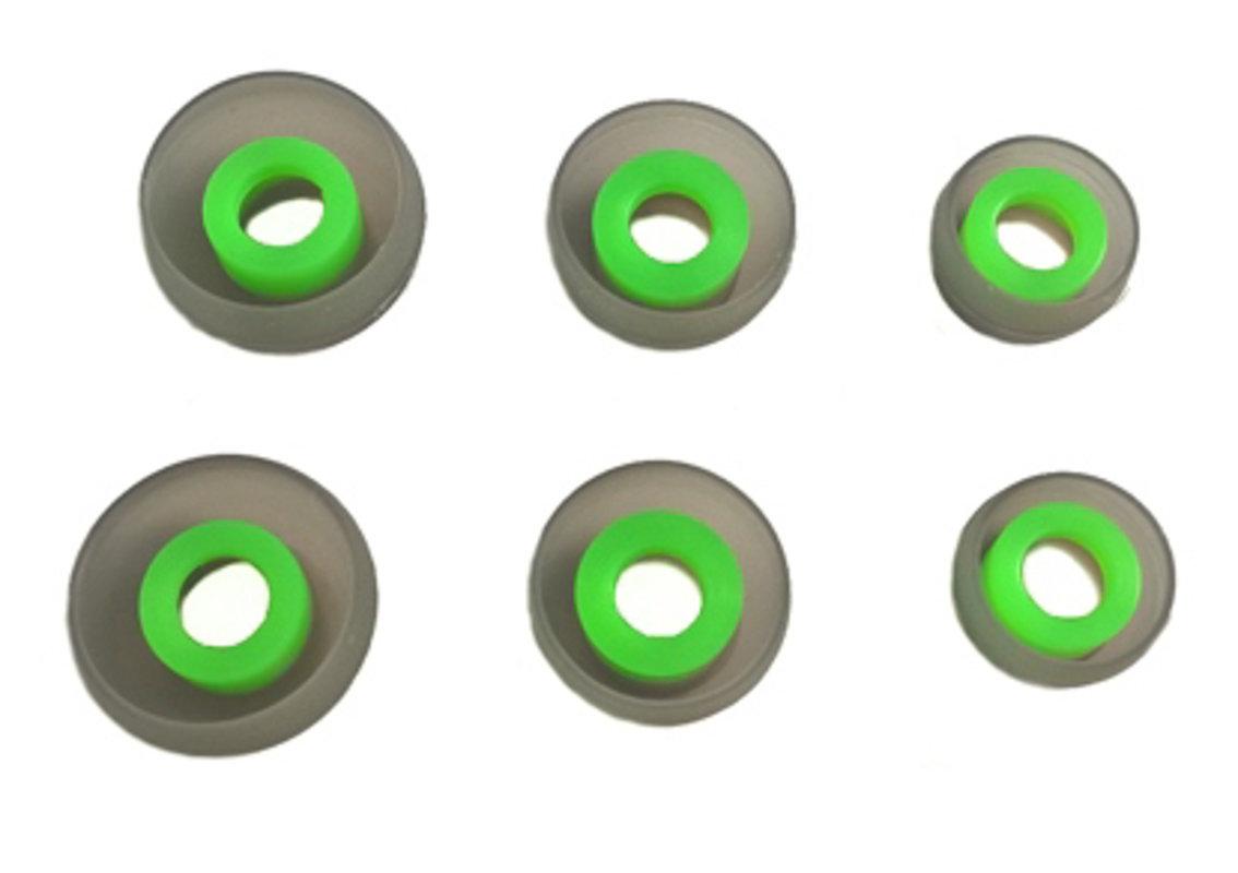 TCM SILIKON Buds {SML} ♫ 3 pāri (6 gab) maināmās austiņu uzgaļi InEar mūzikas austiņām.  ♫ Pelēks/Zaļš
