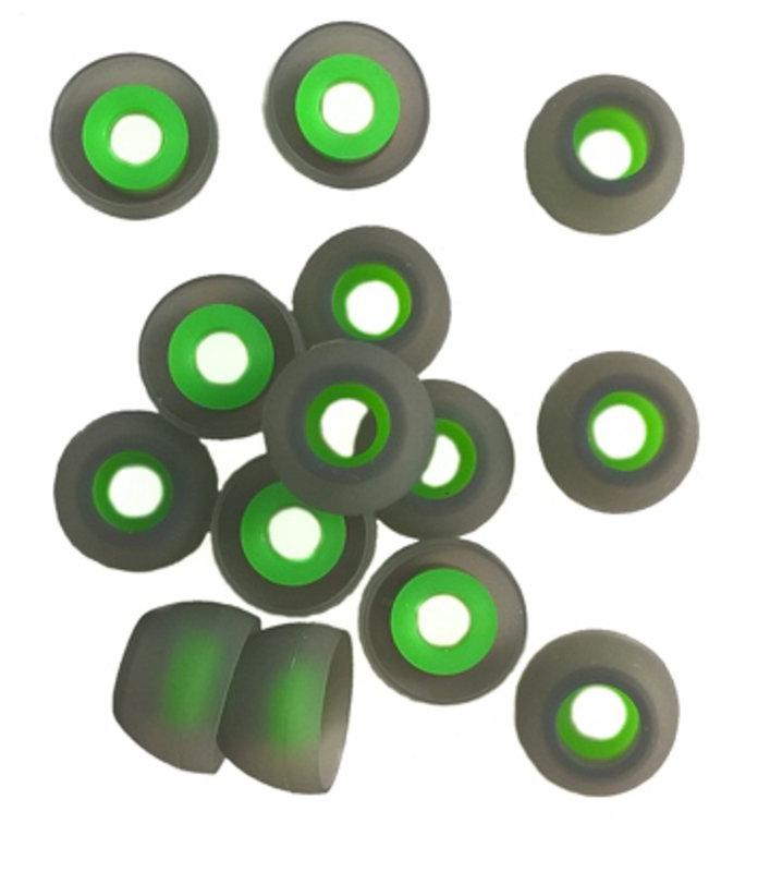 TCM SILIKON Buds ♫ 7 pāri (14 gab) maināmās austiņu gumijas InEar mūzikas austiņām. ♫ Pelēks/Zaļš