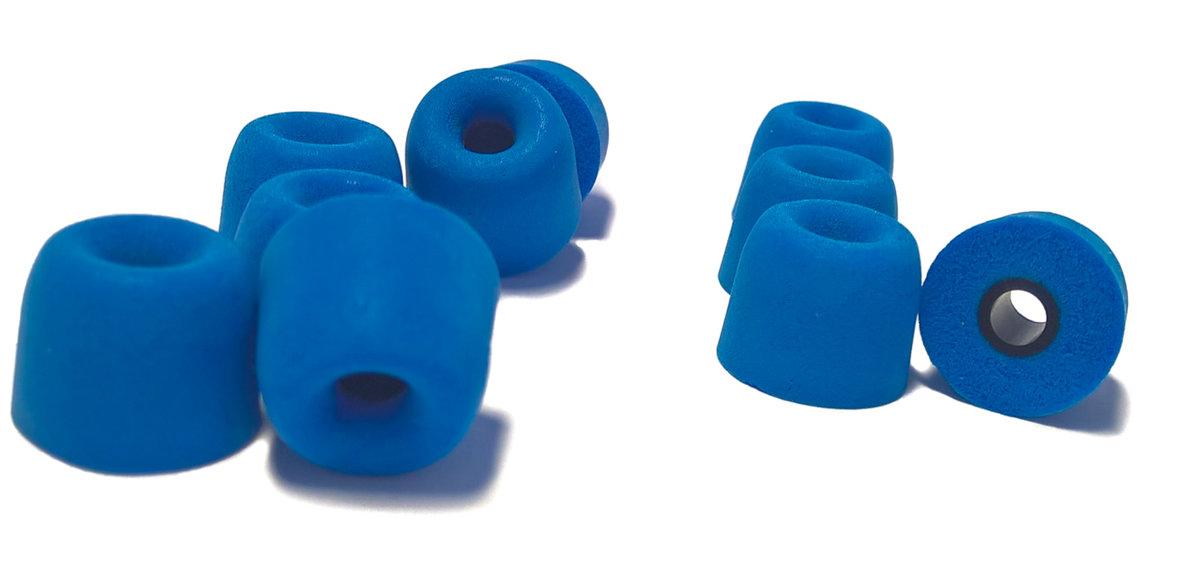 TCM Memory FOAM ♫ 5 pāri (10 gab) maināmās austiņu gumijas InEar mūzikas austiņām. Pielāgojas auss formai, slāpē apkārtējo troksni, uzlabo skaņu ♫ Zils